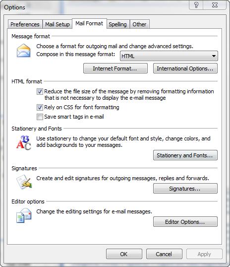 mail format tab