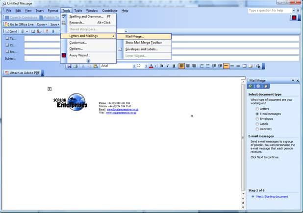 mail merge menu option