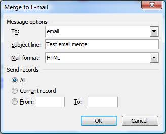 subject line and merge email dialogue