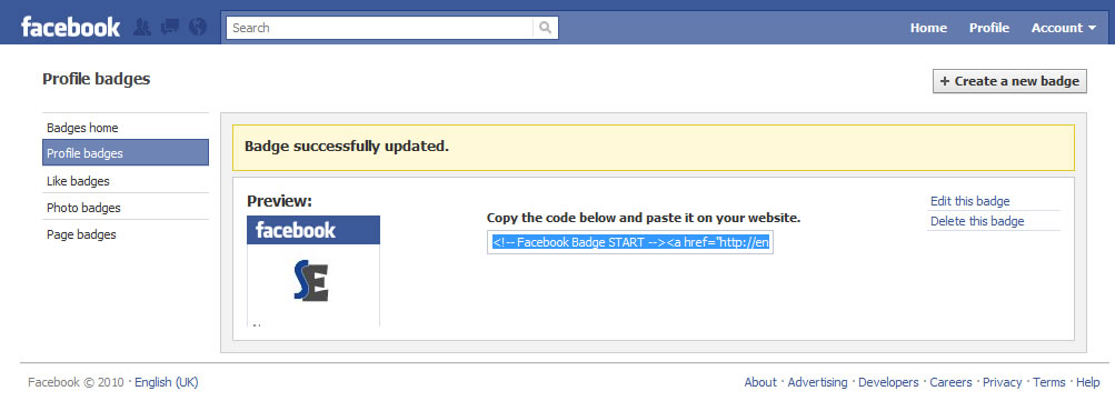 Facebook profile badge code