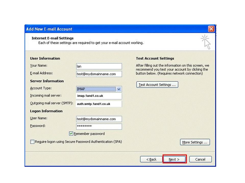 imap settings confirmation dialogue