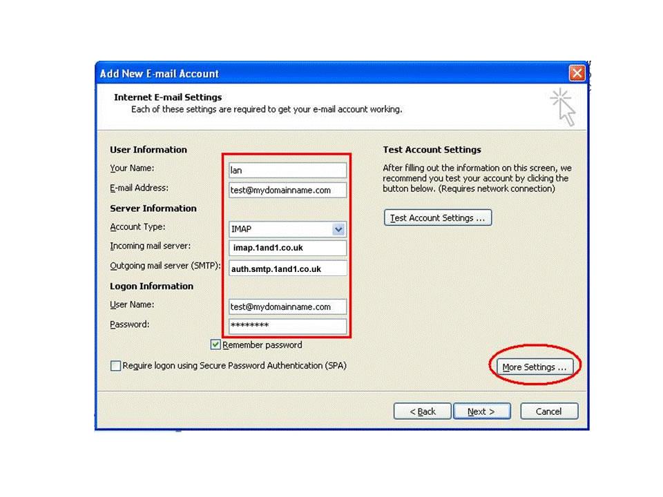 imap settings dialogue