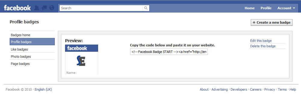 Facebook create profile badge dialogue image