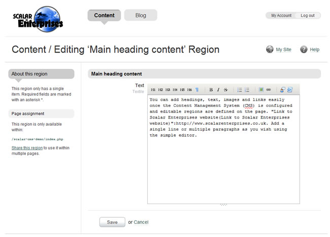 Scalar Enterprises CMS example - web page - editor window
