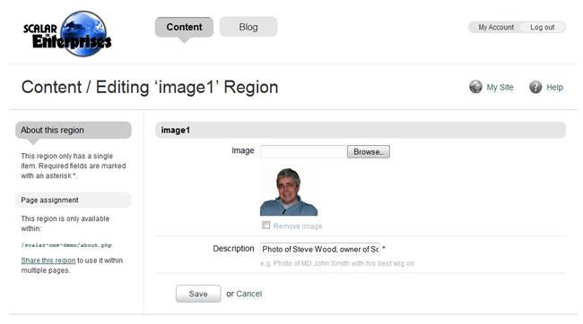 Scalar Enterprises CMS example - web page - image editor window