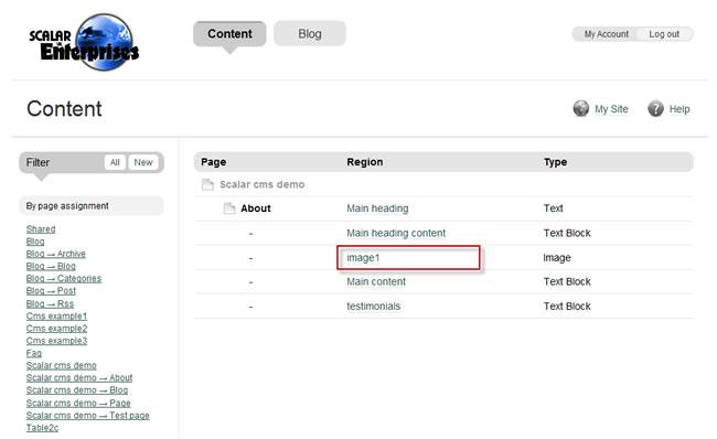 Scalar Enterprises CMS example - web page image edit