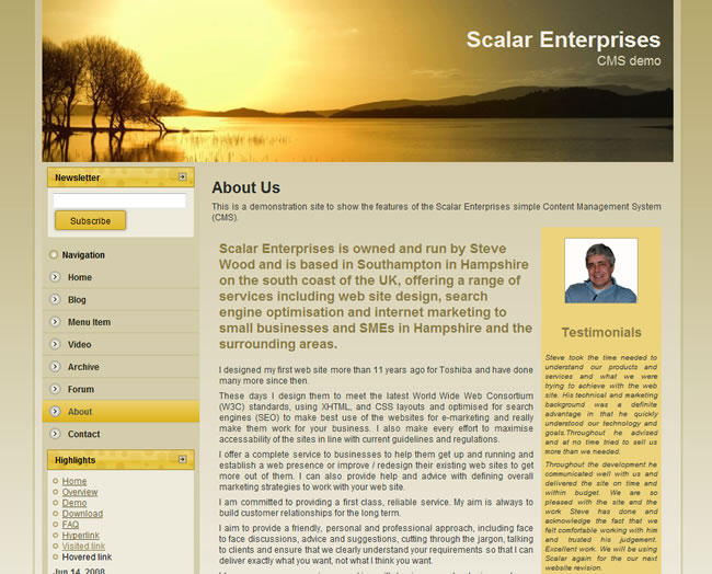 Scalar Enterprises CMS example - web page with image