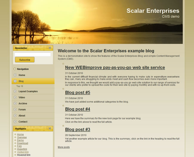 Scalar Enterprises CMS example - blog page
