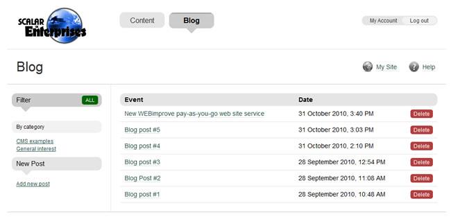 Scalar Enterprises CMS example - blog editor