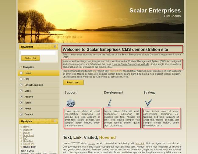 Scalar Enterprises CMS example - web page - editable regions