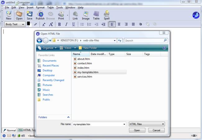 Seamonkey - open file