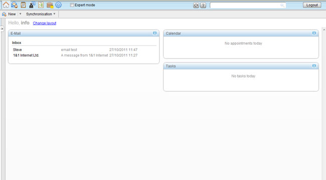 webmail overview screen