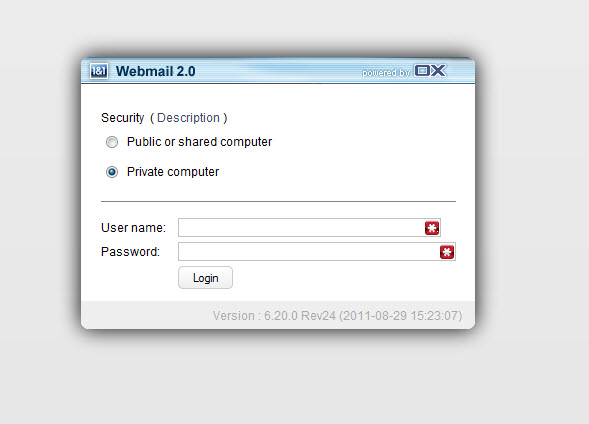 1and1 webmail login screen