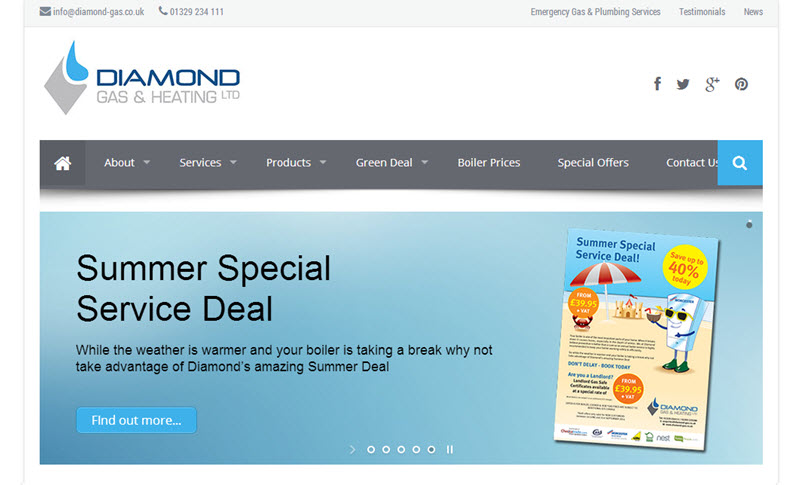 Diamond Gas & Heating website