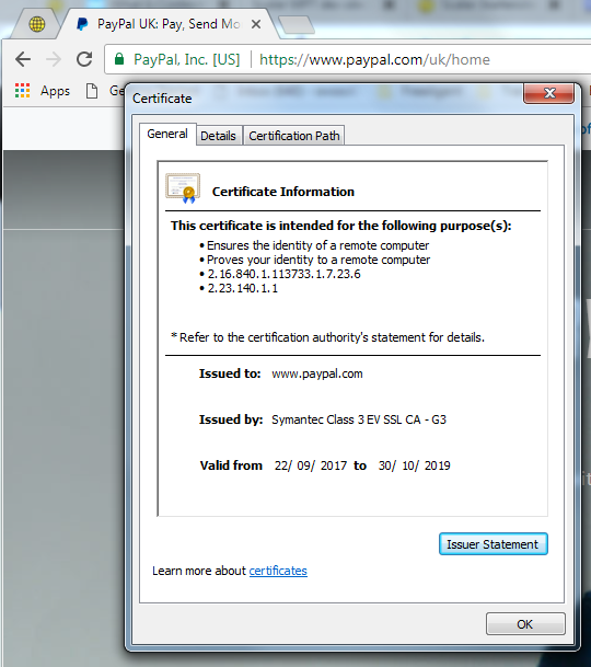 chrome browser - certificate information